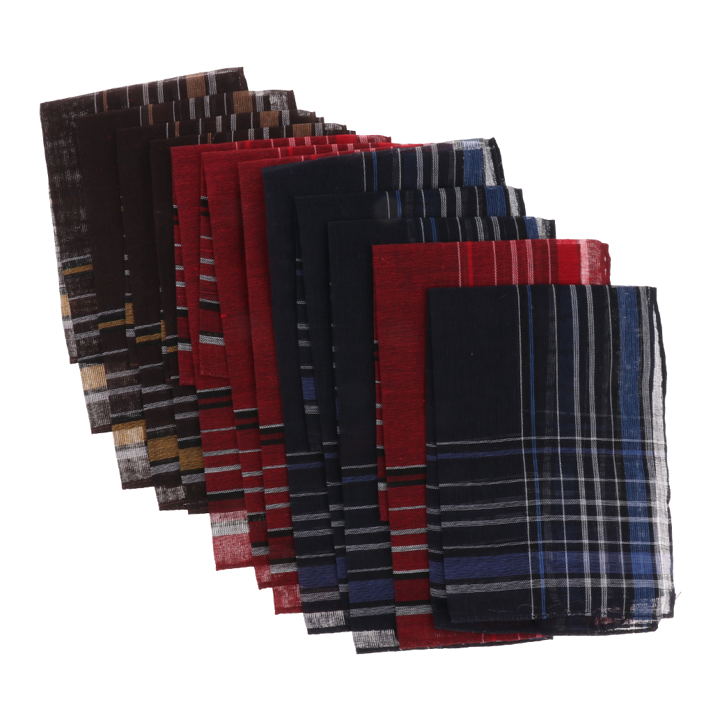 Pack Of 12 Pieces Plaids Pattern Handkerchiefs Soft Square Pocket Towel For Men