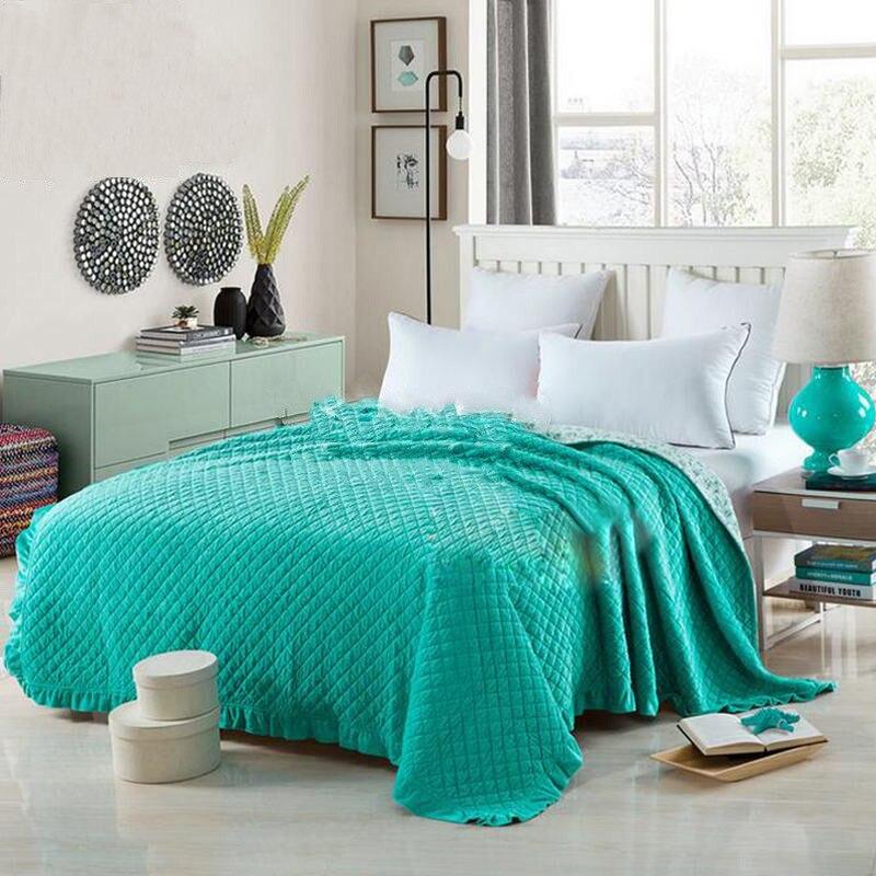 100% Coton Lit Couverture Couvre-lit Solide Couleur Cool/De Luxe Couette Plein/Reine Taille Air-conditionné L'été vérifié 3 pcs