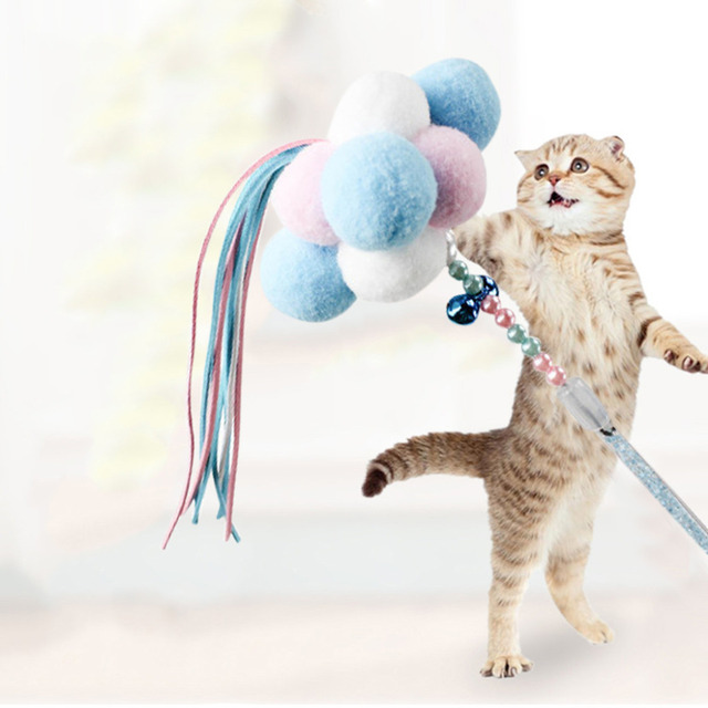 Divertente Gioco Interattivo Pet Cat Toys Cat Teaser Bacchetta Giocattolo Baston