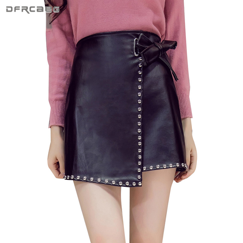 Black Women Faux Leather Short Skirt Rivet 2019 Autumn Winter Fashion Vintage High Waist Casual PU A-Line Skirt With Bow Female