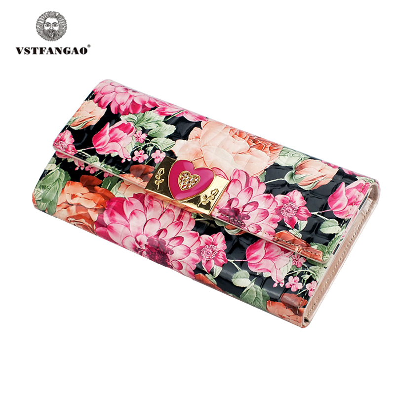 VSTFANGAO Brand 100% Genuine Leather Wallet for Women,High Quality Coin Purse Female Phone Purse high quality women wallet 100