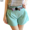 2016 New Bow Decoration Shorts Women High Waist Candy Color Short Feminino Slim Casual Short Jeans Large Size Women Shorts FL139