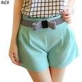 2016 Novo Arco Decoração Mulheres Shorts de Cintura Alta Doces Cor curto Feminino Magro Ocasional Curto Calça Jeans Tamanho Grande Mulheres Calções FL139