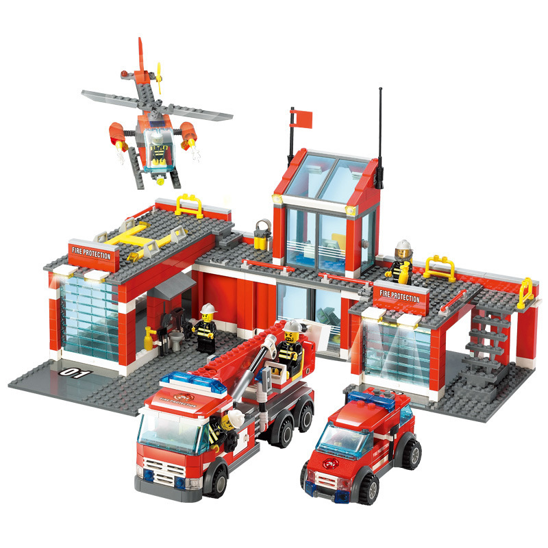 774PCS Children s educational building blocks toy Compatible city Fire station headquarters figures Toys birthday gifts