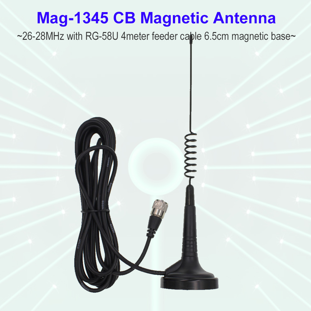 27MHz CB Radio Antenna Mag-1345 PL259 Connector With Magnet Base And 4 Meters Feeder Cable Center For AT-6666 Citizen Band Radio