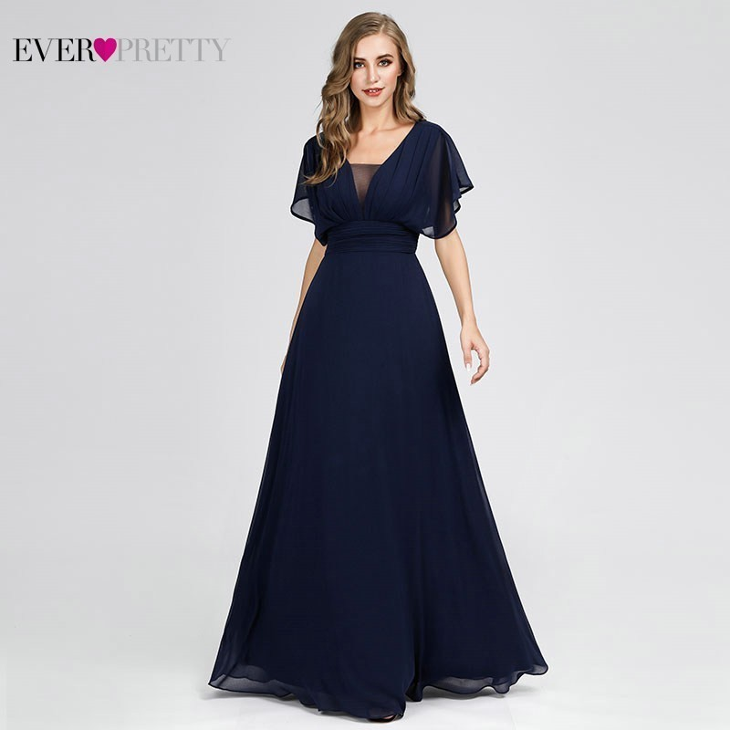 Ever Pretty Navy Blue   Bridesmaid     Dresses   A-Line V-Neck Short Sleeve Elegant Wedding Guest   Dresses   Robe Demoiselle D'honneur 2019