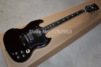 custom guitar factory 2017 Top Quality SG dark wine red with black pickguard ,Chrome hardware electric guitar Free Shipping 1111