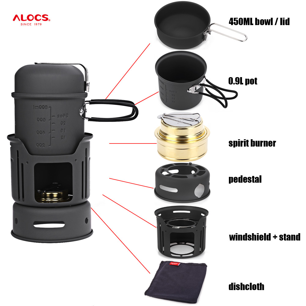 ALOCS CW-C01 7pcs Outdoor Camping Cooking Set Portable Stove Camping Cookware Pots Bowl Cooker Stove Picnic BBQ Travel 1-2Person