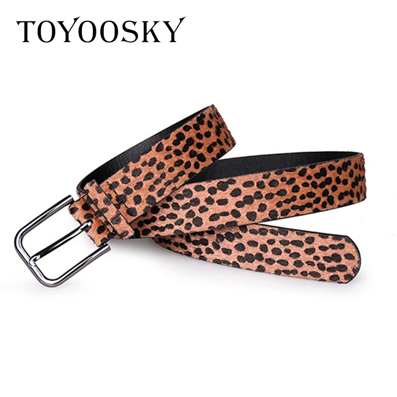 2018 New Arrival Women Belt Leopard Horsehair PU Pin Buckle Long Belt for Dress All match High Quality Belts for Female TOYOOSKY in Women 39 s Belts from Apparel Accessories