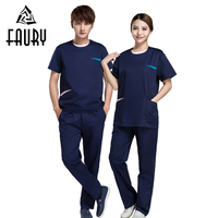 2018 Fashion Women Medical Hospital Scrubs Set Nurse Workwear Tops Pants O Neck Dental Clinic Beauty Salon Slim Fit Work Uniform