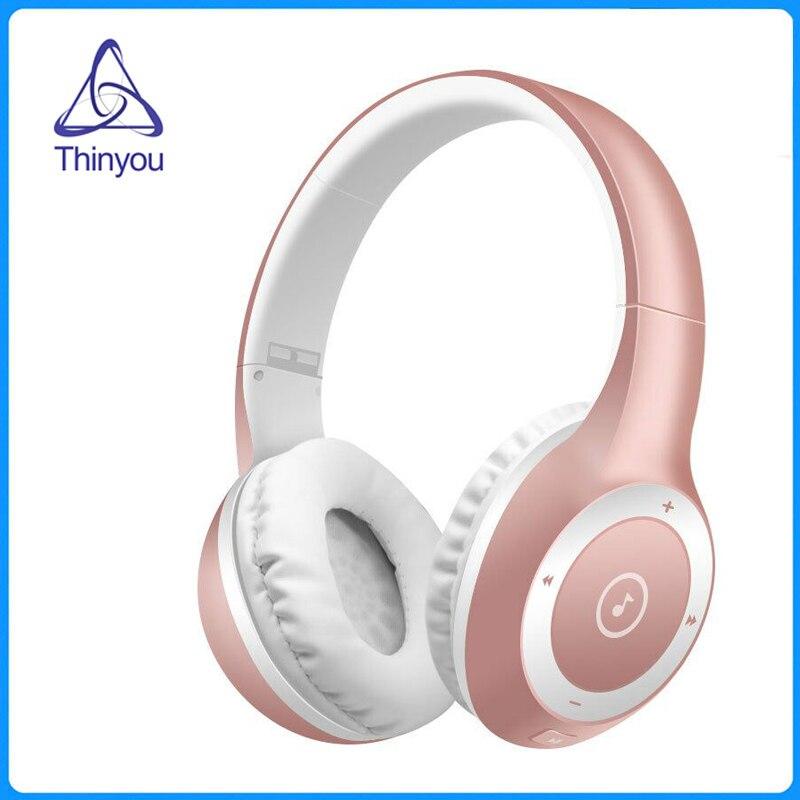 Thinyou Hi-Fi наушники Беспроводной Bluetooth Стерео оголовье наушников Super Bass Складная гарнитура Поддержка карты памяти с микрофоном