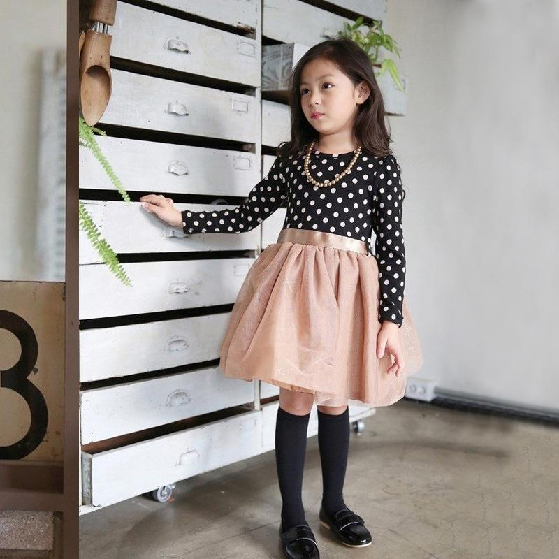 2017 New Autumn Winter Kids Toddlers Girls Dresses Print Polka Dot Bow-Knot Long Sleeve Dress Children Baby Girl Party Clothing toddlers girls dots deer pleated cotton dress long sleeve dresses