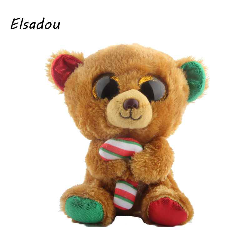 Elsadou Ty Beanie Boos Stuffed Plush Animals Brown Bear With Candy Doll font b Toys b