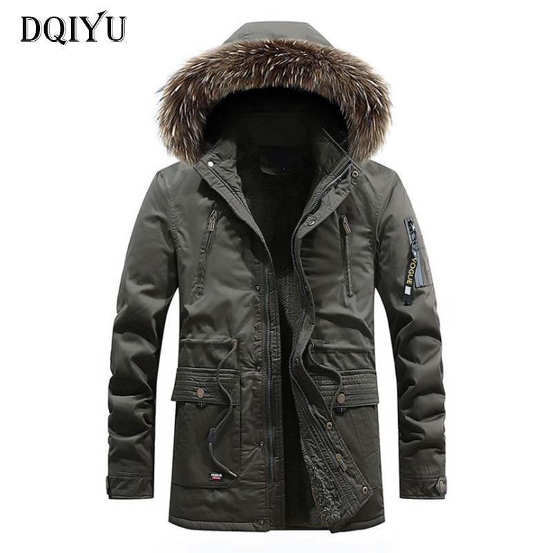 DQIYU Winter Jacket Men Fleece Hooded   Parkas   Fur Collar Military Cotton Jacket Male New Fashion Army Green Long Windbreaker Coat