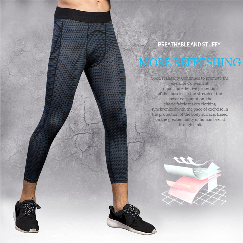 2018 new Compression Pants Sports Men Tights leggings Bodybuilding breathable Fitness Gym 3/4 Trousers Black Running Pants