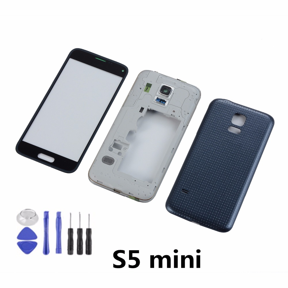 For Samsung S5 mini G800 G800F Housing Middle Frame+Back Battery Cover+LCD Display Touch Screen Panel+Tools