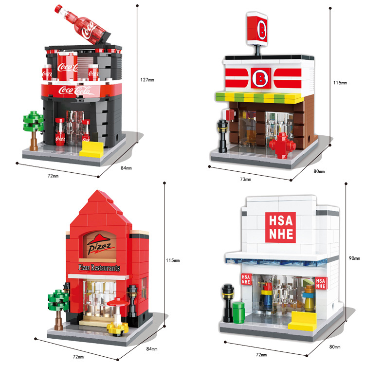 HSANHE Small Blocks Street store Plastic Blocks DIY Building Bricks Micro Street Shop Model Toy Kids toys Girls Gifts  6412-6415 12 style one piece diamond building blocks going merry thousand sunny nine snakes submarine model toys diy mini bricks gifts
