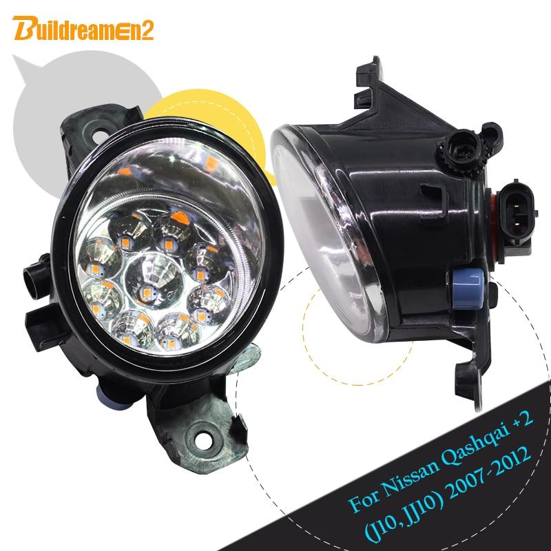 Buildreamen2 Para Nissan Qashqai + 2 (J10, JJ10) 2007-2012 Pair Car Styling H8 1 H11 Nevoeiro Luz Luz LED DRL Luz de Circulação Diurna