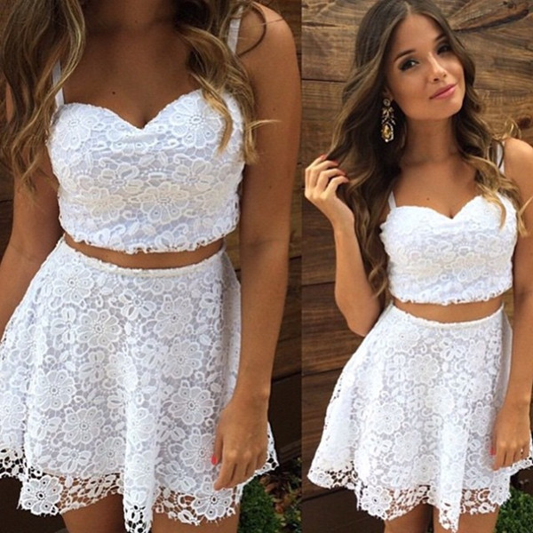 2018 Brand New Women Clothing White Black V Neck Strap Lace 2 Piece Set Sexy Party Elegant Lace Top And Skirt Sets Zipper Suits
