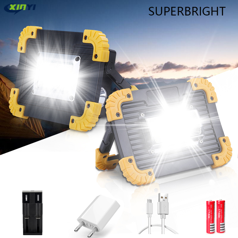 100W 30000lm Led Portable Spotlight  Super Bright COB Led Work Light Rechargeable For Outdoor Lampe Led Flashlight Use 2*18650