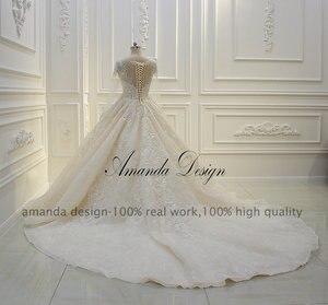 Image 4 - Amanda design de alta qualidade manga longa rendas apliques pérolas champanhe vestido de casamento