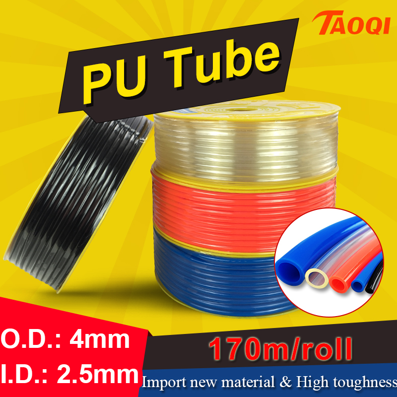 170m/Roll PU tube 4*2.5mm Air Pipe Pneumatic Hose Polyurethane OD 4mm ID 2.5mm for Compressor high quality Pneumatic parts