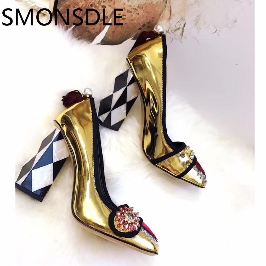 2018 New Shoes Woman Spring Summer Genuine Leather Pumps Metal Pearl Slip On Shallow Square Toe High Heels Women Retro Pumps