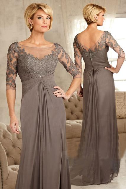 Cinza elegante Apliques Chiffon Luva dos Três Quartos Mãe dos vestidos de noiva Plus Size Vestido Formal Vestido de madrinha 2017