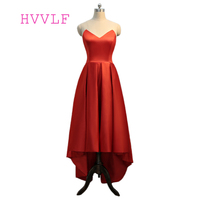 Short Front Long Back 2016 Formal Celebrity Dresses Ball Gown Sweetheart Long Evening Dress Famous Red