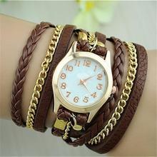 New Fashion Alloy PU leather Retro Vintage Colorful Multilayer Strap Band Wrap Women Bracelet Quartz Wrist Watch Female love wrap bracelet quartz watch