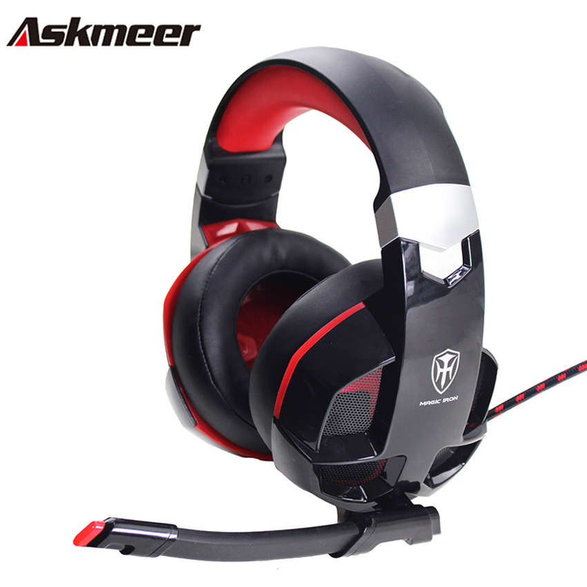 Askmeer M5 casque PC Stereo Gaming Headphones Gamer Headset with Microphone Mic Led Light for PS4/New Xbox One/ Computer each g1100 shake e sports gaming mic led light headset headphone casque with 7 1 heavy bass surround sound for pc gamer