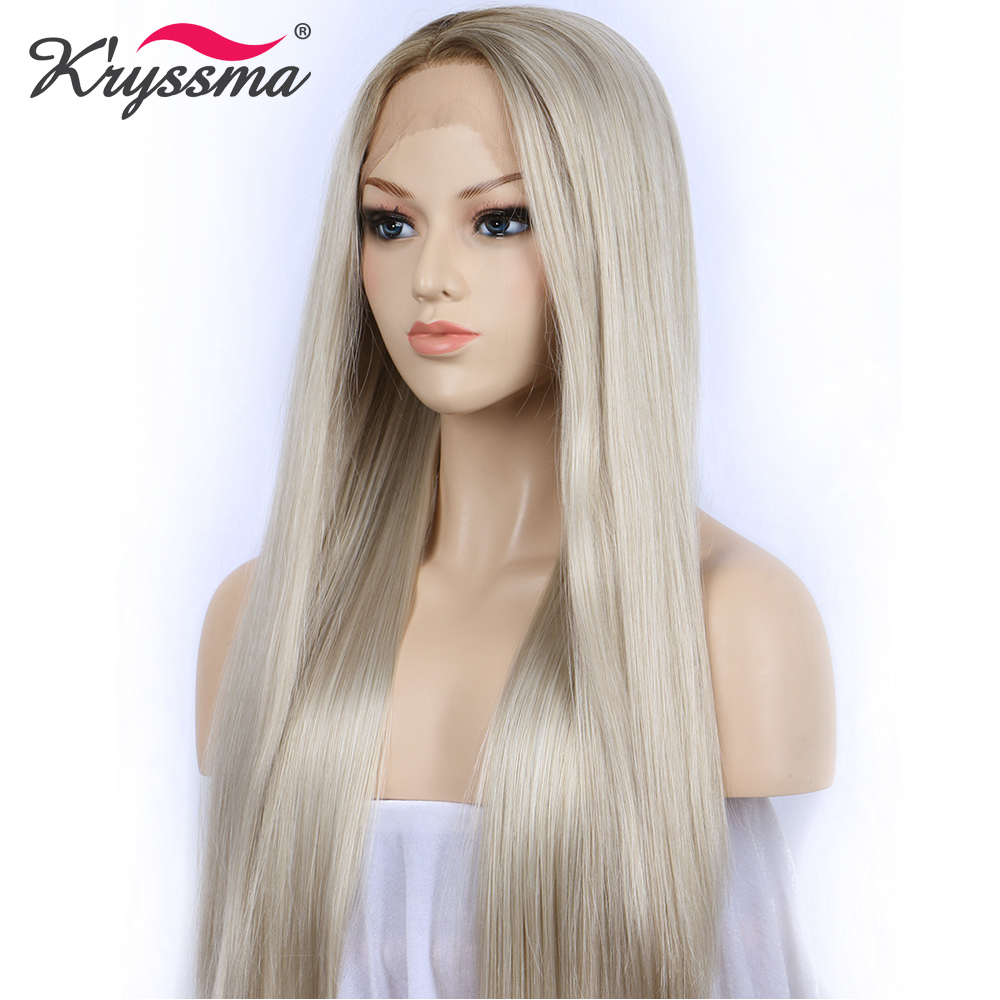 Blonde Wig Synthetic Lace Front Wigs for Women Brown Roots Natural Straight Long Light Blonde Platinum Wig Heat OK Fiber 24