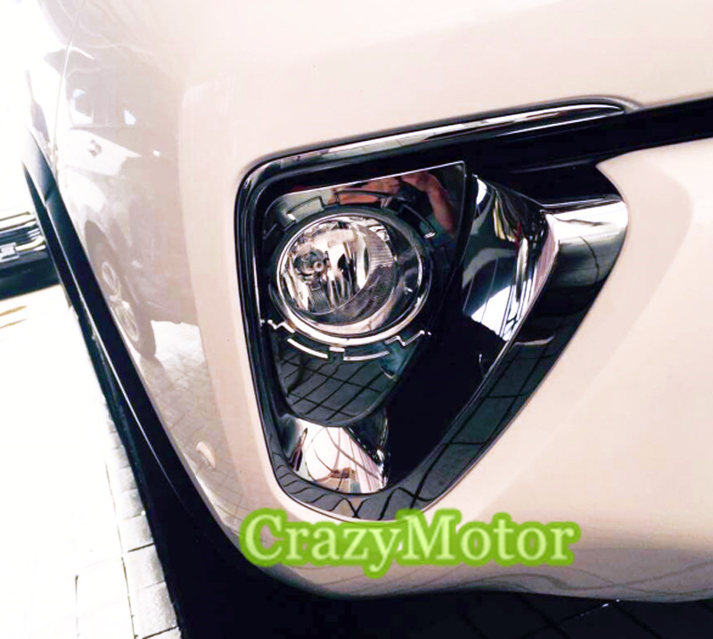 For Toyota Fortuner 2016 2017 An160 Chrome Front Fog Lights Frame Cover Accessories Car Styling