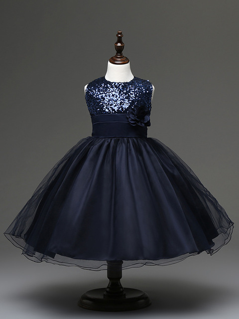 b3661bf75b941 US $13.4 33% OFF|Black Blue Red Beige Sequin Flower Kids Short Ball Gown  Prom Wedding Dresses for Children Girls Navy Blue Sleeveless Dress-in  Dresses ...