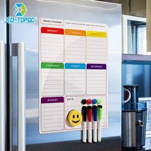 Image 3 - A3 magnétique hebdomadaire et mensuel planificateur tableau blanc réfrigérateur aimant Flexible quotidien Message dessin réfrigérateur Bulletin tableau blanc