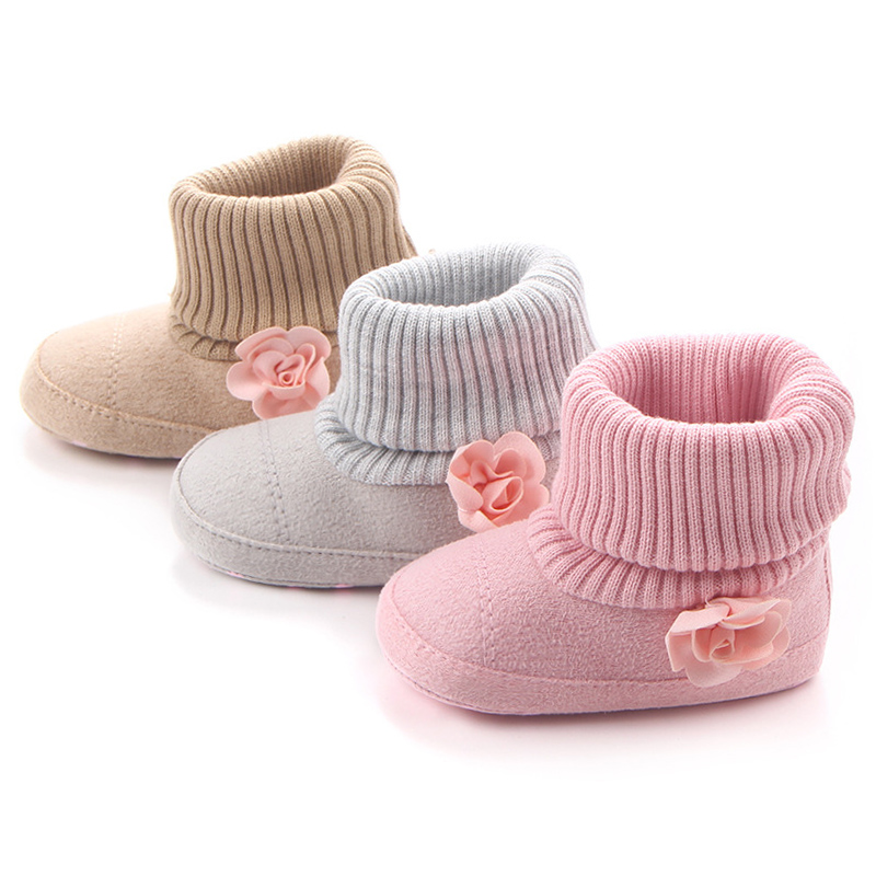 Купить с кэшбэком New Born Fashion Baby Boots for Girl Princess Shoes Newborn Boot Infant Booties Toddler Brand Buty with Pink Flowers Shower Gift