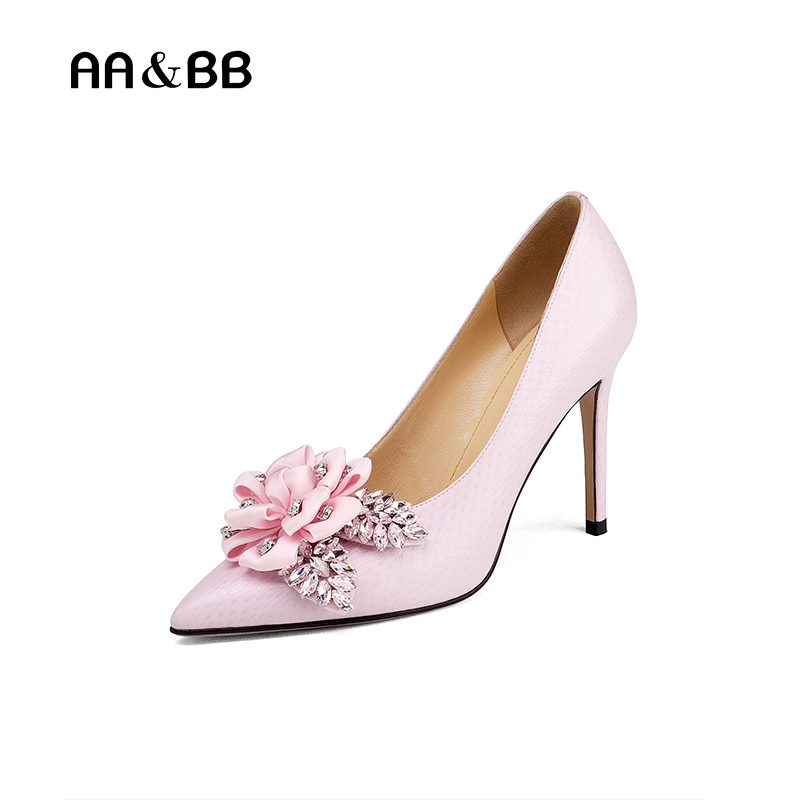 AA&BB flower crystal slip-on shoes woman elegant high heels pointed toe thin heels party women shoes shallow pink pumps lttl bling elegant pointed toe high heels women pump slip on rhinestone pointed toe thin heel party wedding crystal shoes woman