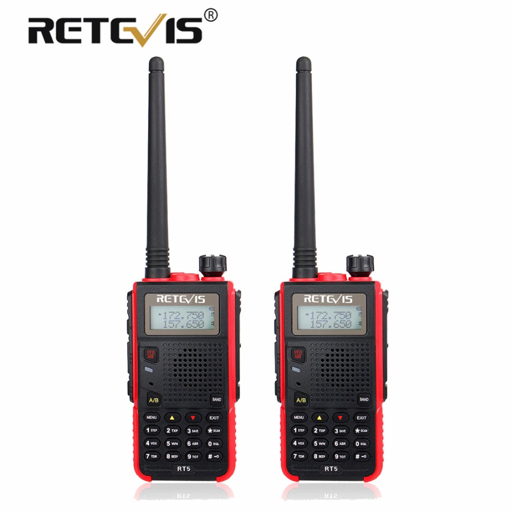 2 pcs Portable Talkie Walkie Paire Retevis RT5 7 w 128CH VHF UHF Double Bande VOX FM Radio Station cb émetteur-Récepteur Radio Talkie-walkie