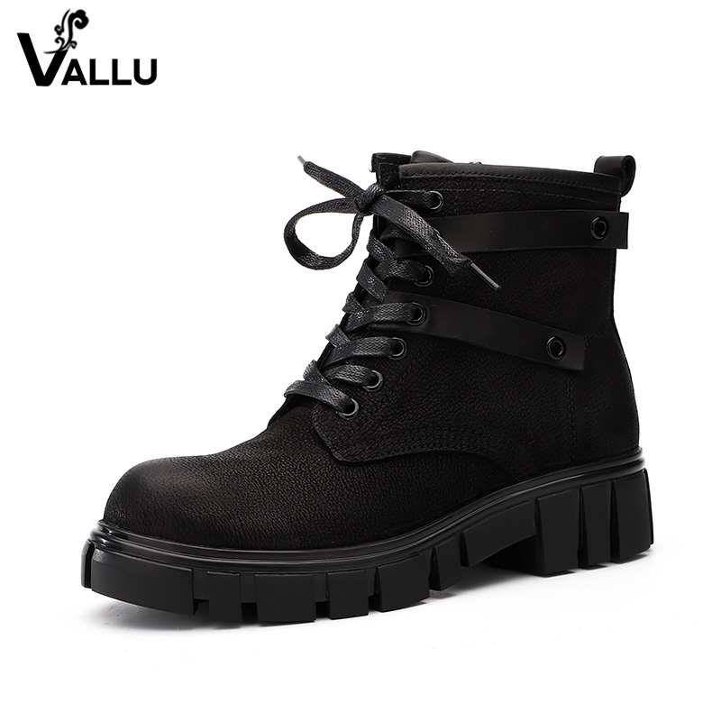 2018 VALLU Winter Autumn Women Ankle Boots Genuine Leather Ladies Boots Lace Up Round Toes Handmade Vintage Female Boots