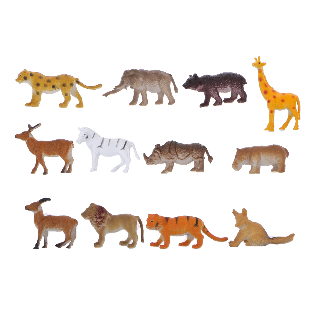 Plastic Mini Cute Wild Animal Figures Simulation Decoration Kids Toys 12pcs Action Toy Figures Leopard Elephant Bear Giraffe Fog long cable winder cute cartoon animal headphone earphone organizer wire holder action toy figures set