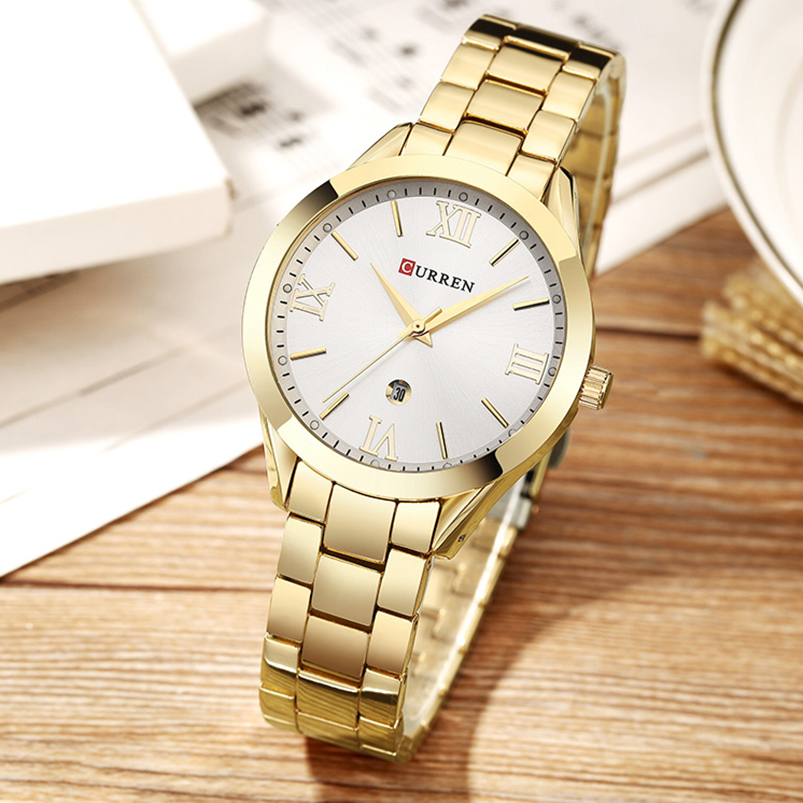 Jewelry Gifts For Women's Luxury Gold Steel Quartz Watch Curren Brand Women Watches Fashion Ladies Clock relogio feminino 9007 Multan