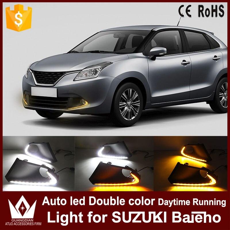 Tcart DRL With Yellow Turn Signal Lights For Suzuki Baleno 2016 2017 Daytime Running Light Auto