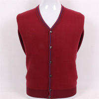 High Grade Pure Goat Cashmere Jacquard Plaid Knit Men Fashion V Neck Thick Cardigan Sweater Claret