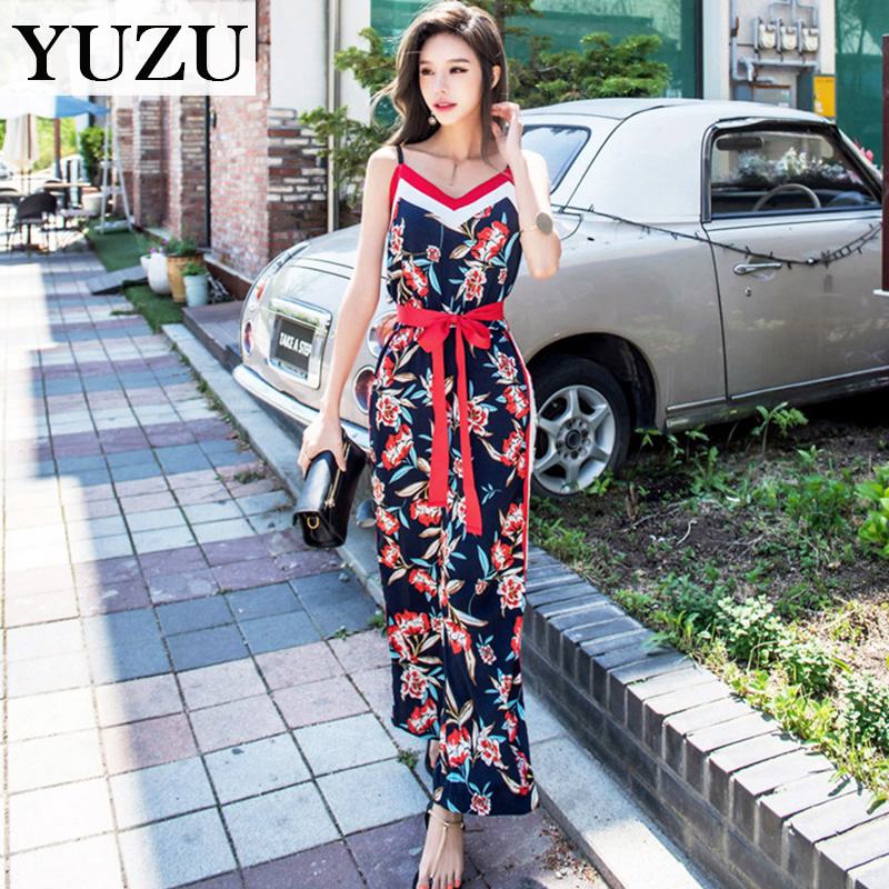 Summer Floral Print Jumpsuits Women v-neck hot sexi pic Spaghetti Strap romper bow belt  ...