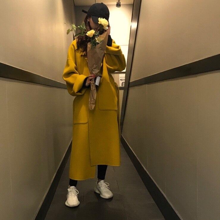 Women Elegant Winter wool Overcoat Long Bandage Woolen Coat Cardigan Loose Plus Size Abrigos Mujer Manteau Femme Hiver 5