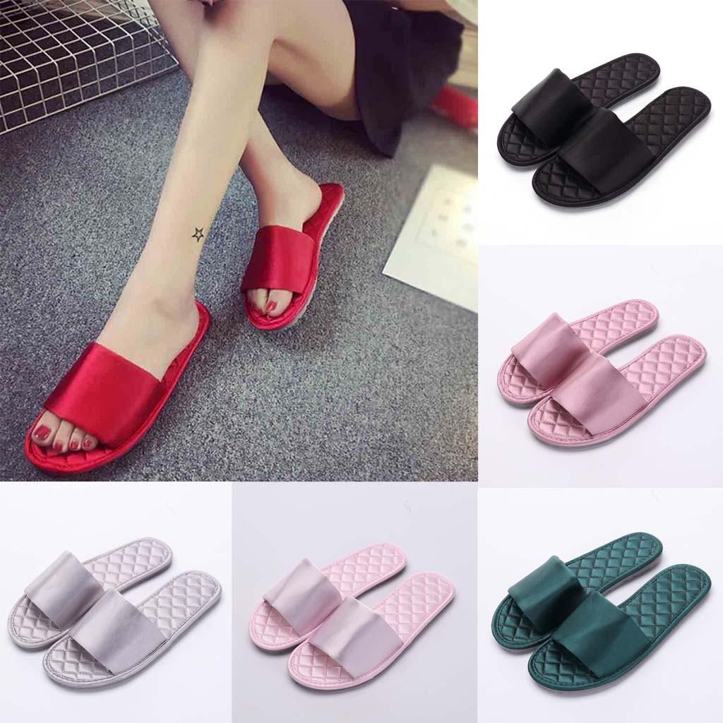 Women Silk Flip Flops Slides 2019 New Fashion Slipper Sandals Soft Sole Home Bathroom Slippers Beach Shoes Soft Flip Flops basic pump