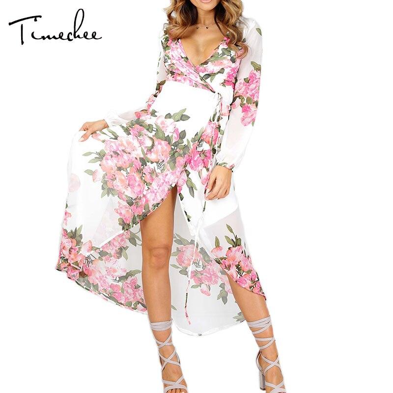 Buy Cheap Maxi Dress Women 2017 Timechee New Summer Boho Sexy V-Neck Print Empire Split Loose Long Dresses Vestidos LYY0137