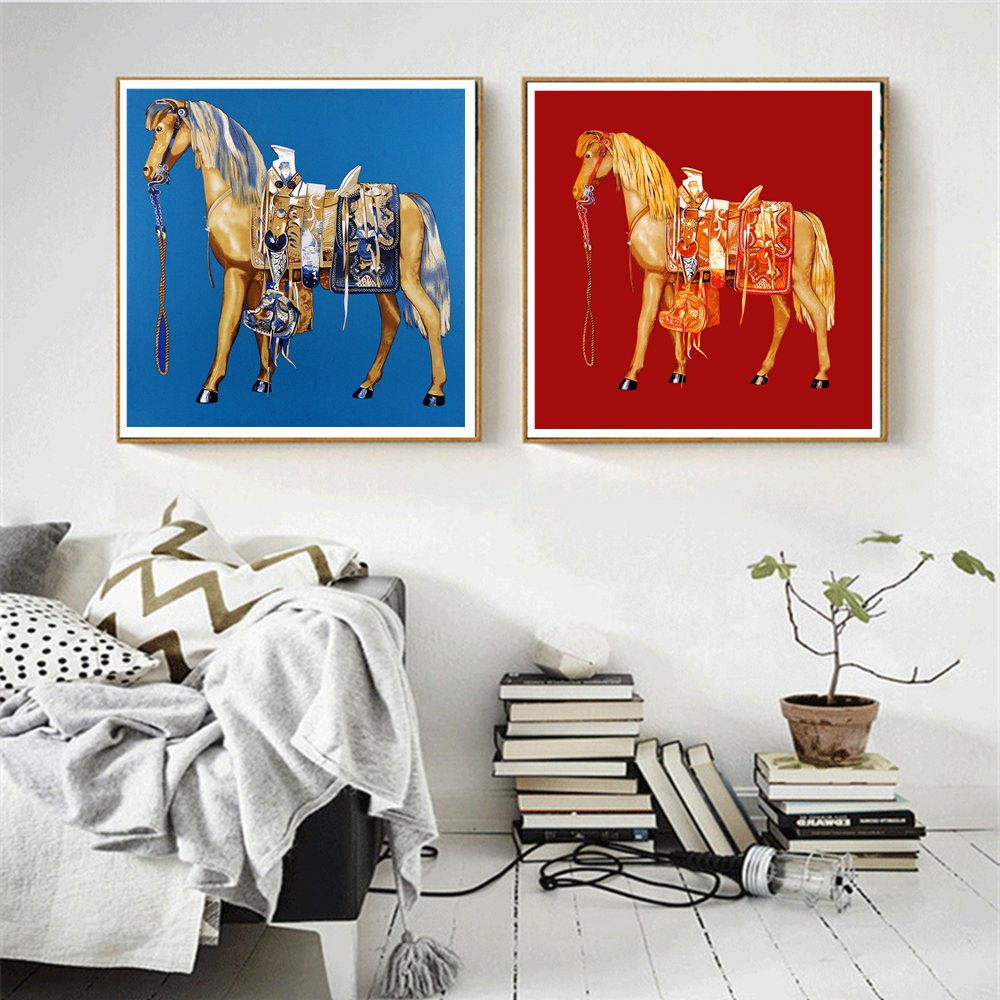 Retro Horse Canvas Painting Prints Blue and Red Wall Art for Vintage Home Decoration Two Horses Animals Poster Office Painting in Painting Calligraphy from Home Garden