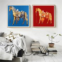 Retro Horse Canvas Painting Prints Blue and Red Wall Art for Vintage Home Decoration Two Horses Animals Poster Office Painting blue horses