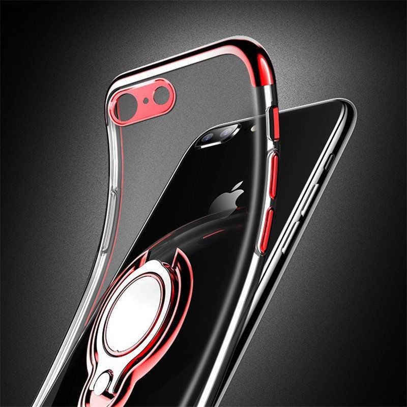 Chapado soporte funda para iPhone x XS MAX XR 8 7 6 6s más casos a prueba de explosión de la cubierta magnética suave bolsa
